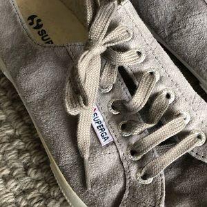 Superga grey suede tennis shoe